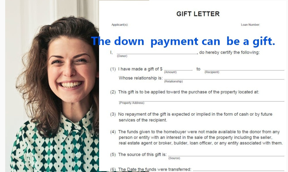 FHA down payment can be a gift from a family member or close associate